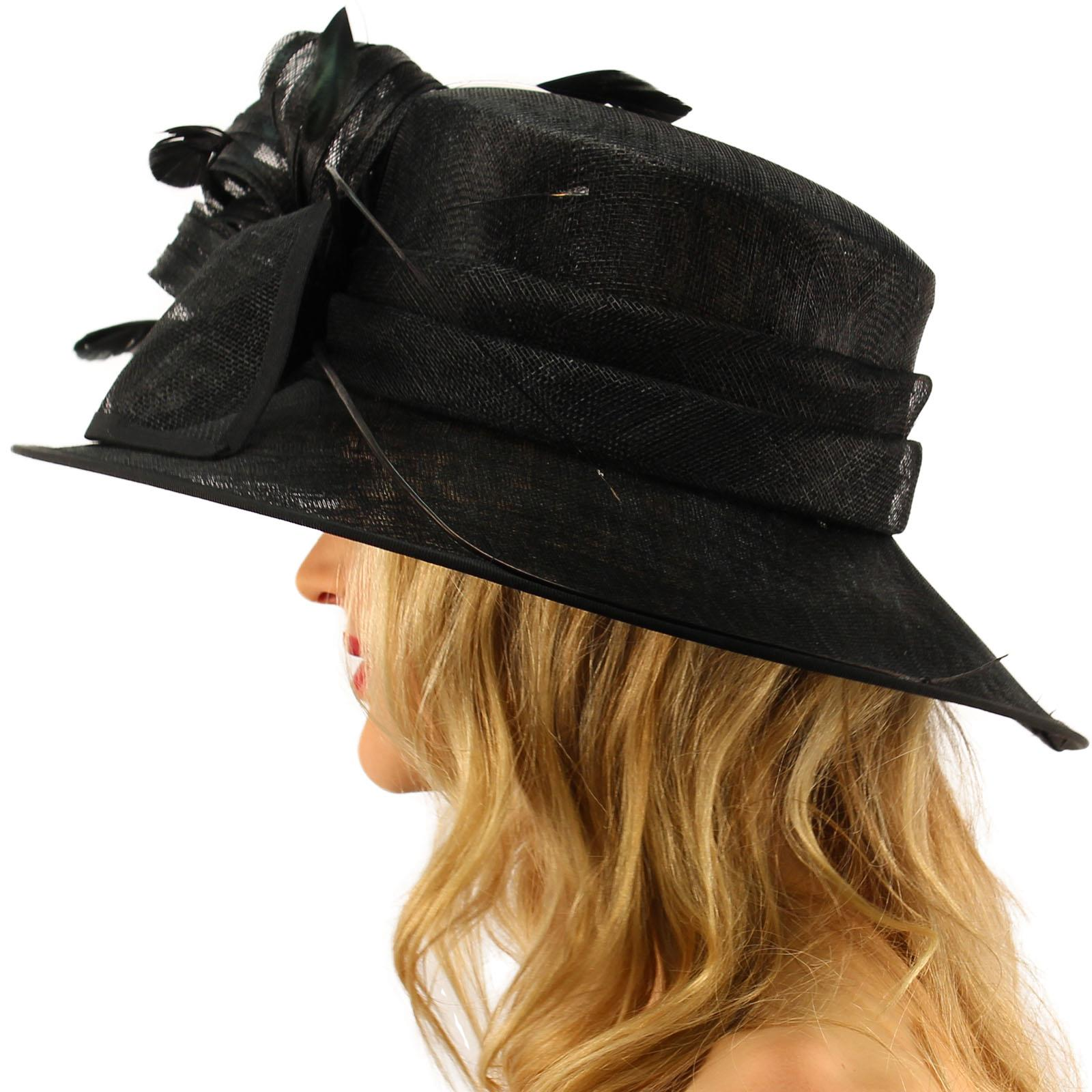 British Regal Sinamy Ribbon Feathers Quill Derby Floppy Bucket Dressy Hat