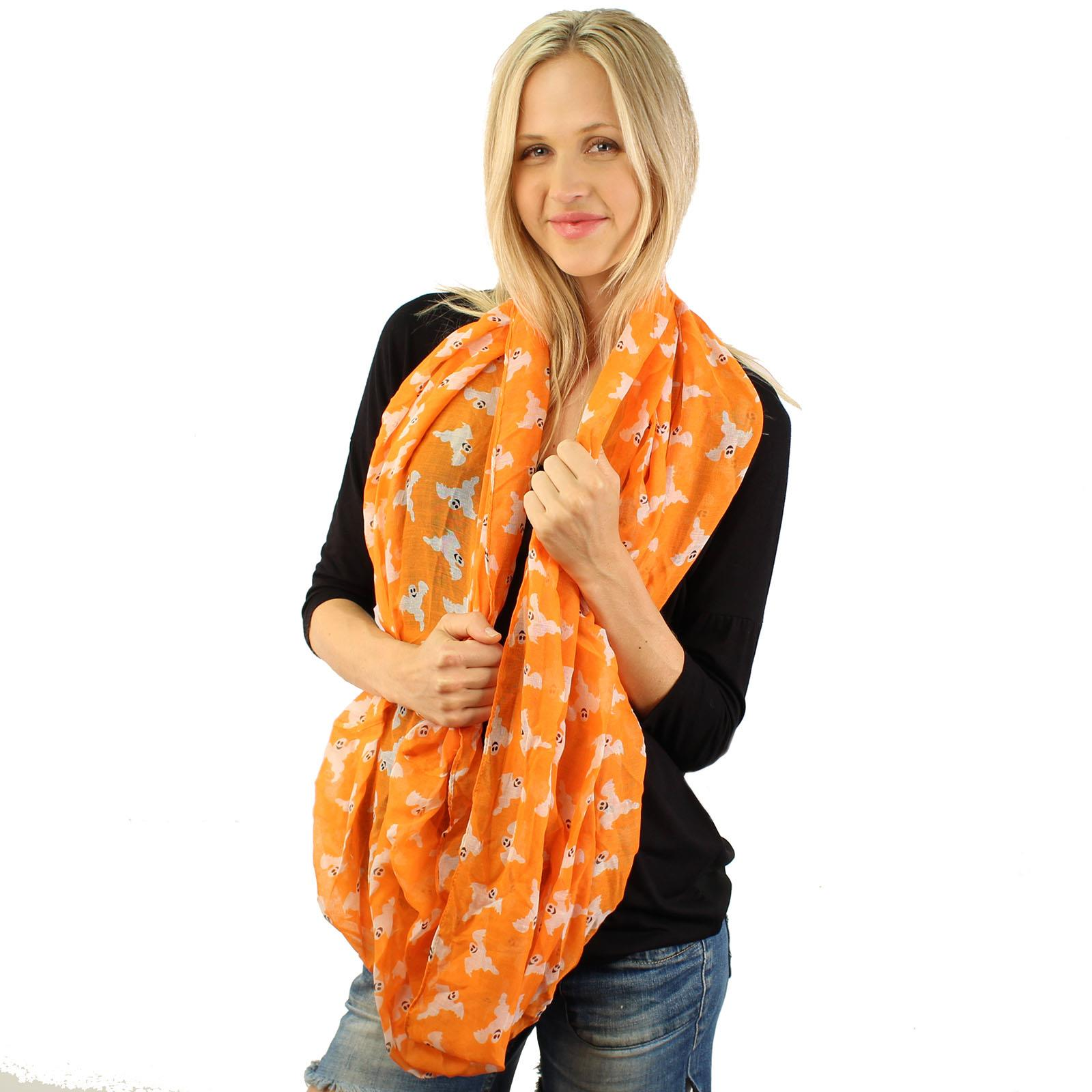 BOO Ghosts Happy Halloween Soft Light Wide Loop Circle Infinity Scarf Wrap